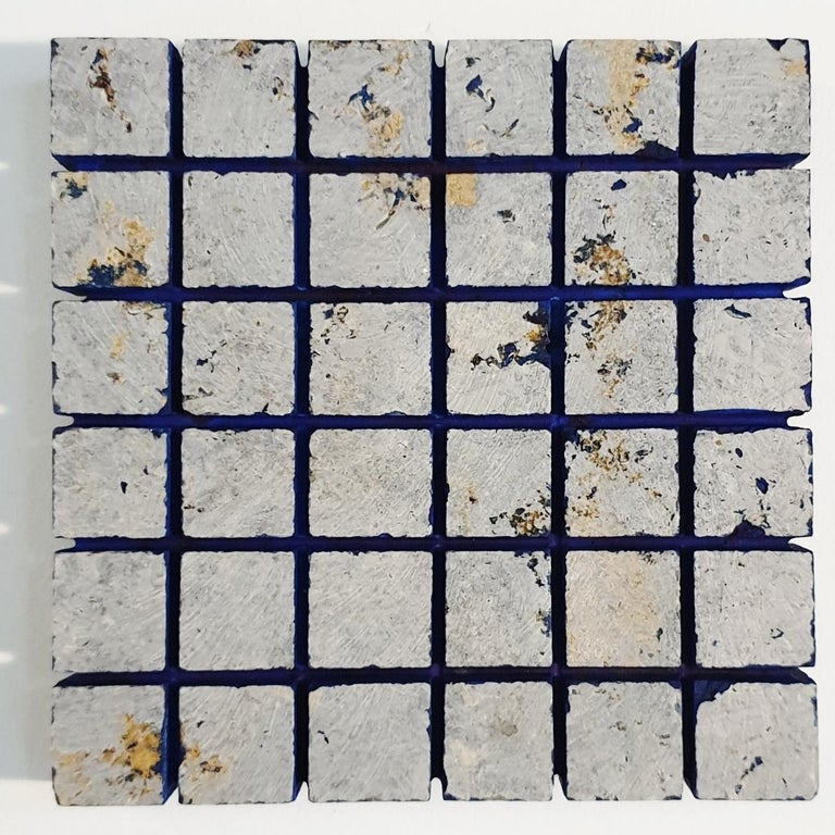 Dieter Kränzlein Abstract Painting - o.T. (Bl15Sq) - grey blue contemporary modern wall sculpture painting relief