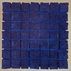 o.T. (Bl15SqL) - blue contemporary modern wall sculpture painting relief