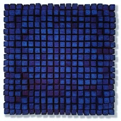 o.T. blau - contemporary modern abstract geometric sculpture painting relief