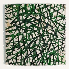 o.T. (Gr15Rd) - grey green contemporary modern wall sculpture painting relief