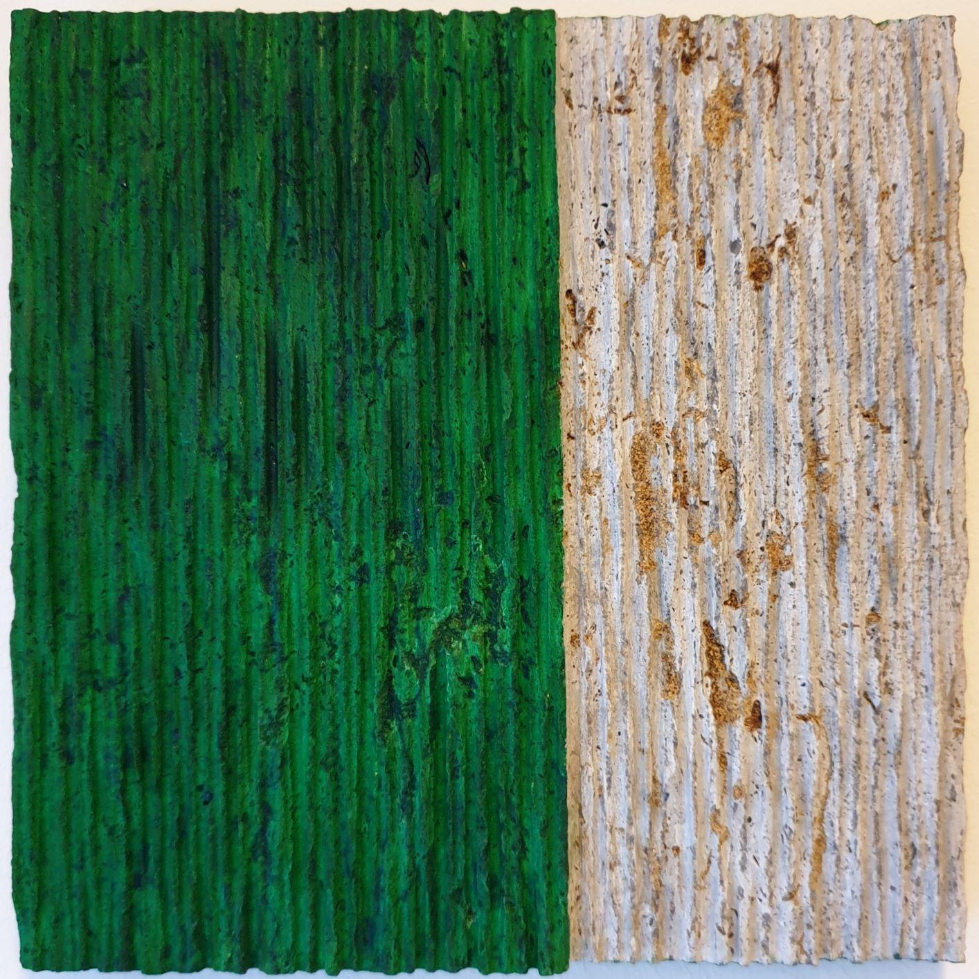 o.T. (Gr22VV) - green contemporary modern wall sculpture painting relief