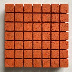 o.T. (Or15SqL) - orange contemporary modern wall sculpture painting relief