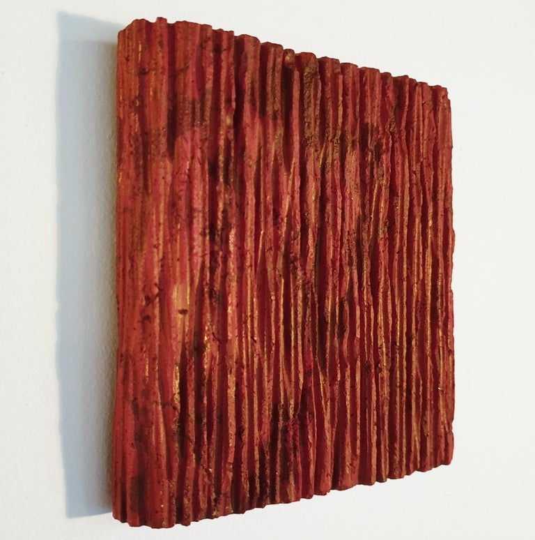 o.T. (Rd15Vt) - red contemporary modern wall sculpture painting relief - Contemporary Sculpture by Dieter Kränzlein