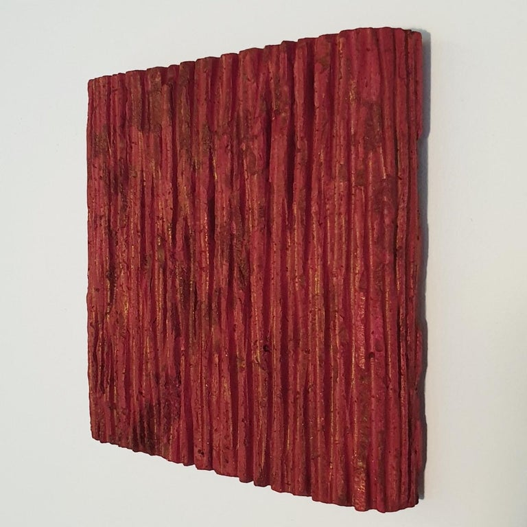 o.T. (Rd15Vt) - red contemporary modern wall sculpture painting relief - Red Abstract Sculpture by Dieter Kränzlein