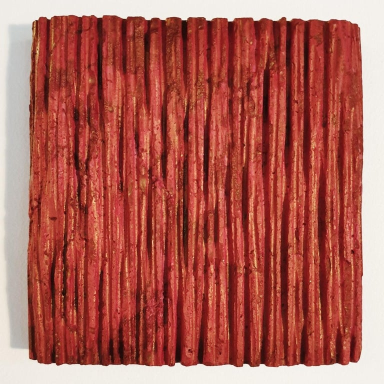 Dieter Kränzlein Abstract Sculpture - o.T. (Rd15Vt) - red contemporary modern wall sculpture painting relief