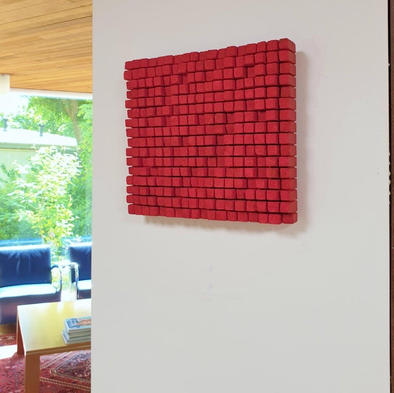 o.T. rot - contemporary modern abstract geometric sculpture painting relief - Painting by Dieter Kränzlein