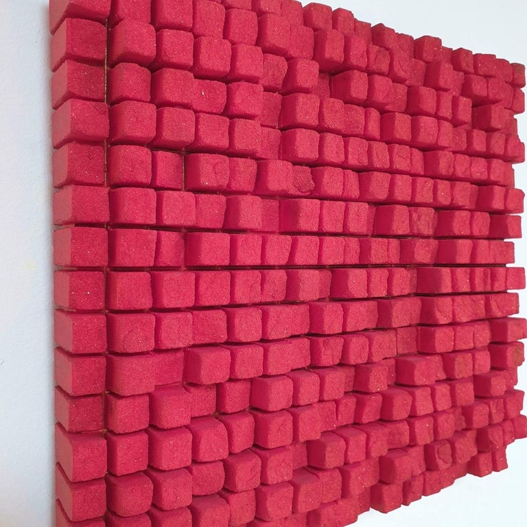 o.T. rot - contemporary modern abstract geometric sculpture painting relief - Contemporary Painting by Dieter Kränzlein