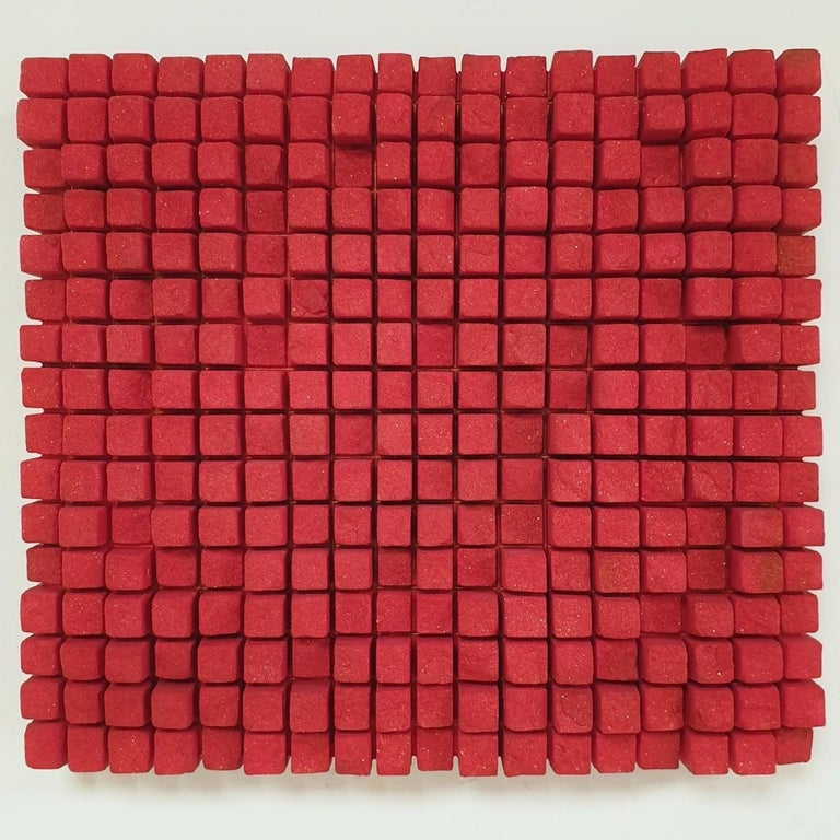 Dieter Kränzlein Abstract Painting - o.T. rot - contemporary modern abstract geometric sculpture painting relief