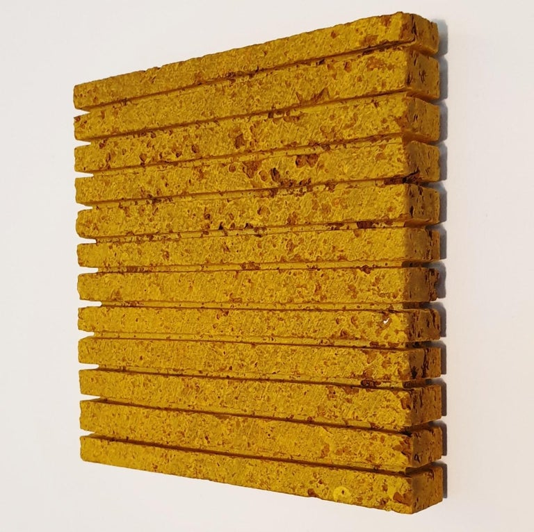 o.T. (Yw15Ln) - yellow contemporary modern wall sculpture painting relief - Yellow Abstract Painting by Dieter Kränzlein