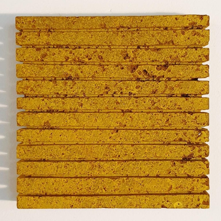 Dieter Kränzlein Abstract Painting - o.T. (Yw15Ln) - yellow contemporary modern wall sculpture painting relief