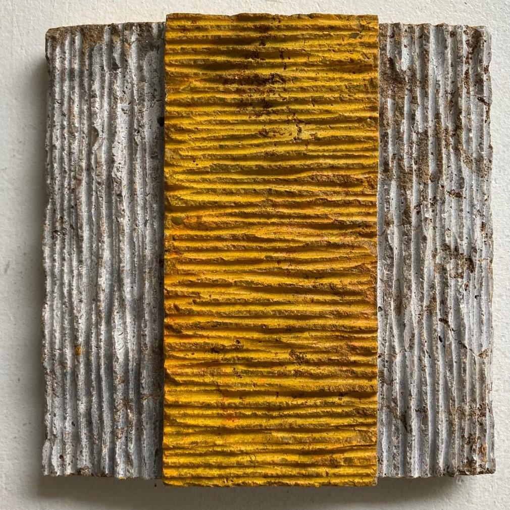 o.T. (Yw15RM) - yellow contemporary modern wall sculpture painting relief