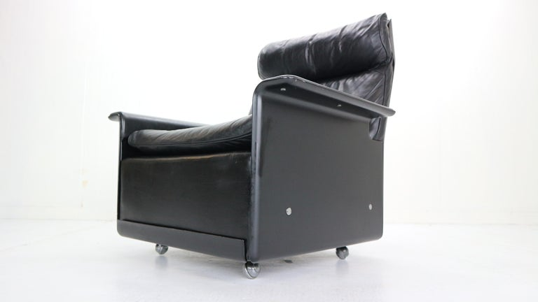 Dieter Rams Black Leather Lounge Chair Model-620 for Vitsœ, 1970s For Sale 3