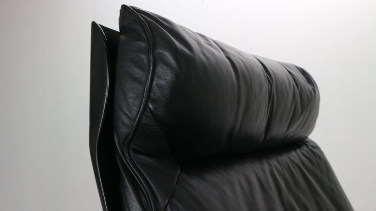 Dieter Rams Black Leather Lounge Chair Model-620 for Vitsœ, 1970s For Sale 6