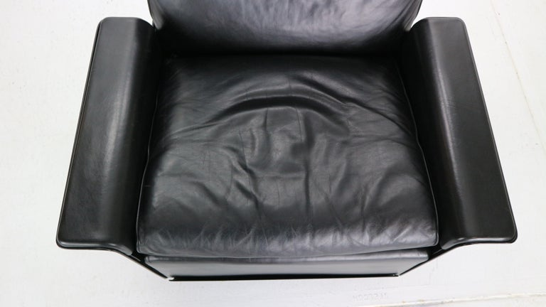 Dieter Rams Black Leather Lounge Chair Model-620 for Vitsœ, 1970s For Sale 8