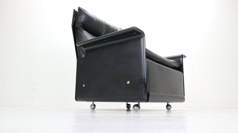 Steel Dieter Rams Black Leather Lounge Chair Model-620 for Vitsœ, 1970s For Sale