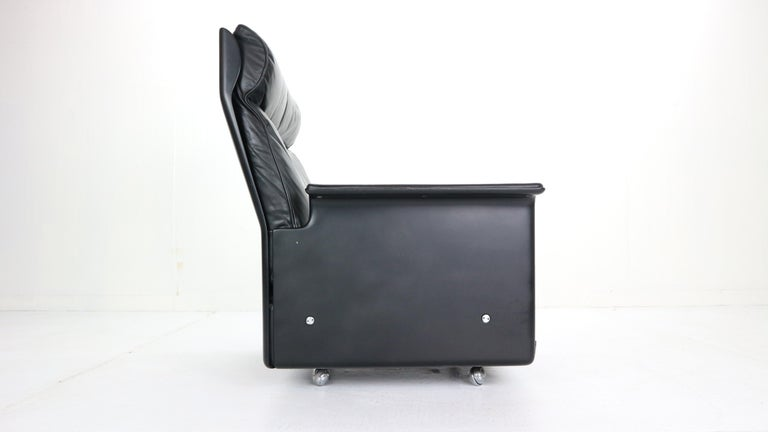 Dieter Rams Black Leather Lounge Chair Model-620 for Vitsœ, 1970s For Sale 1