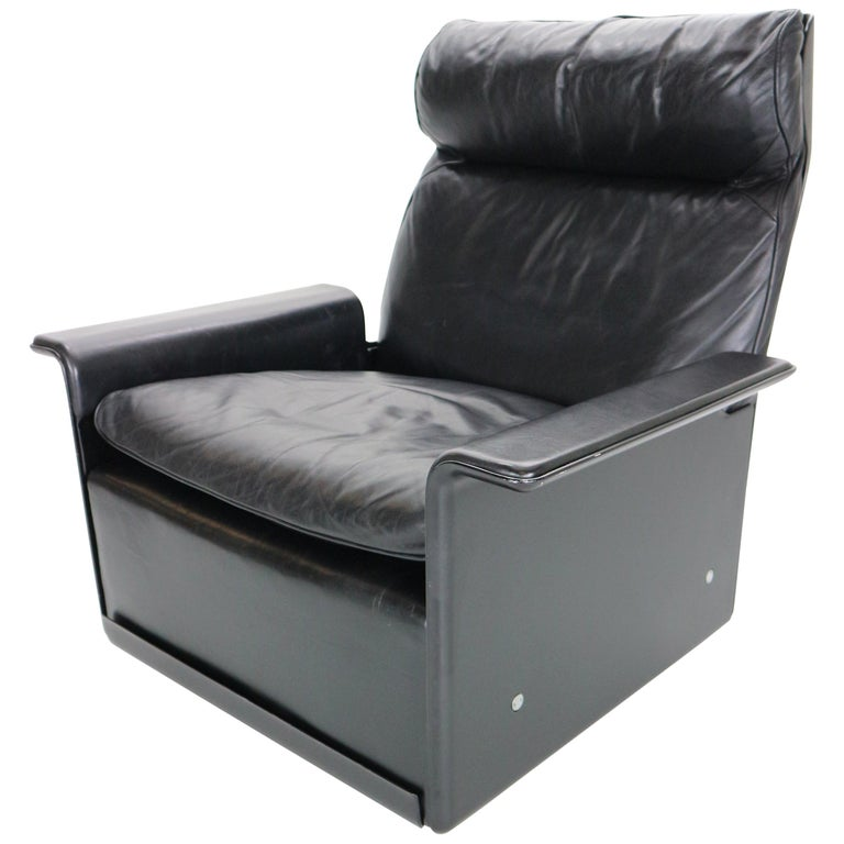 Dieter Rams Black Leather Lounge Chair Model-620 for Vitsœ, 1970s For Sale