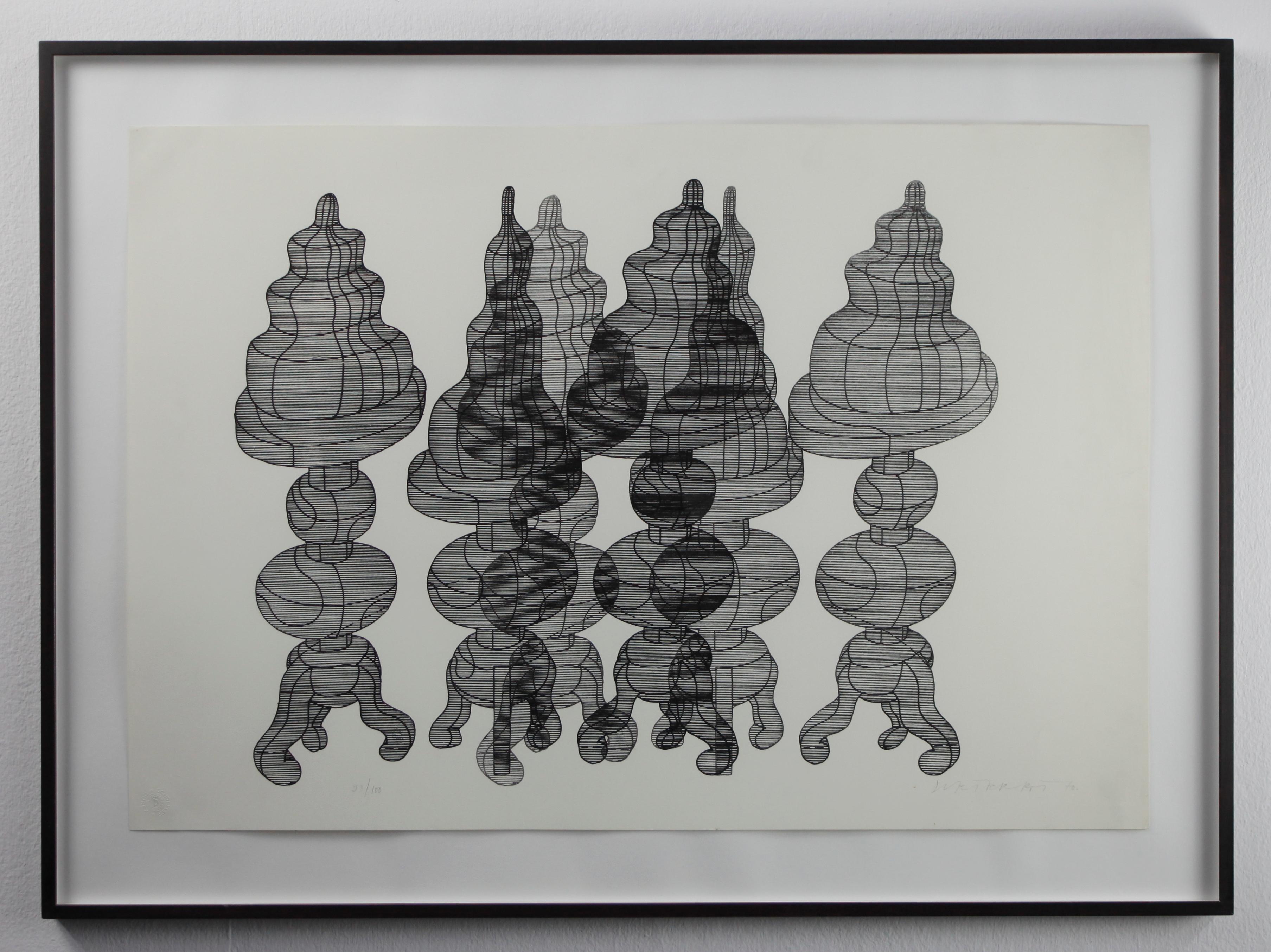 3 Kuchen auf Drehstühlen // Three cakes on swivel chairs // Screen print
