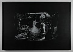 Im Westen // In the west // Screen print // white on black cardboard // signed