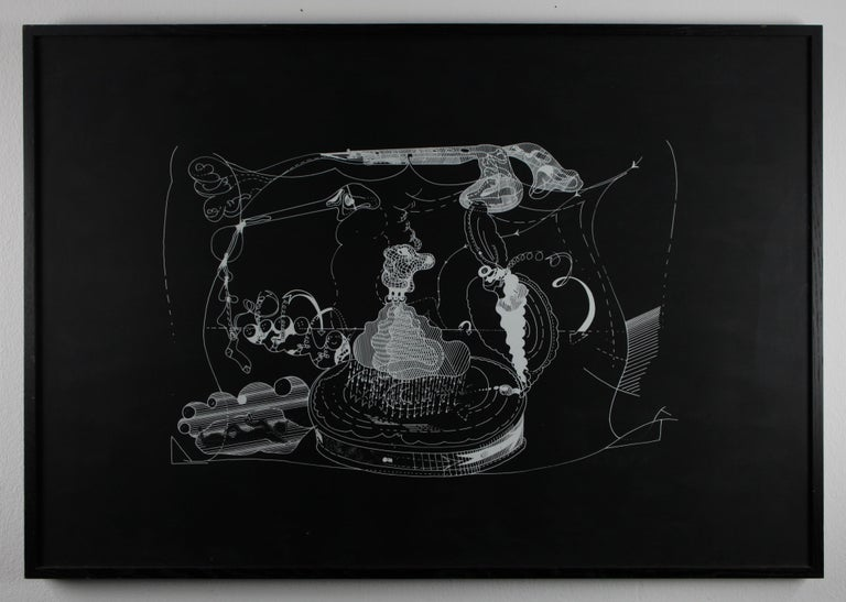 Im Westen // In the west // Screen print // white on black cardboard // signed - Print by Dieter Roth