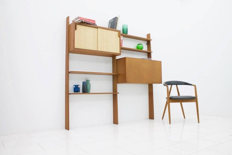 Dieter Waeckerlin Teak Shelf with Seagrass Sliding Doors a Bar or Desk, 1950s For Sale 4