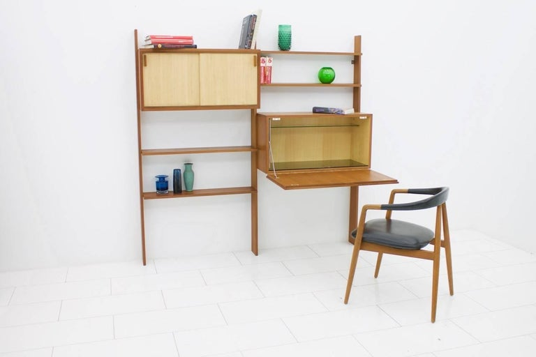 Mid-Century Modern Dieter Waeckerlin Teak Shelf with Seagrass Sliding Doors a Bar or Desk, 1950s For Sale