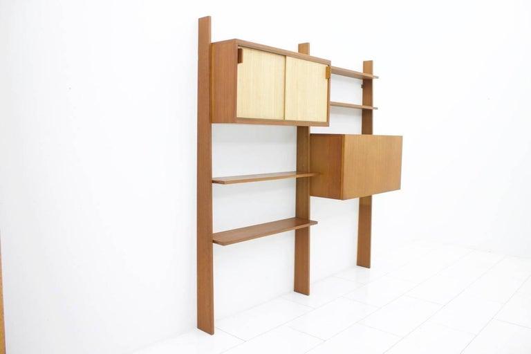 Dieter Waeckerlin Teak Shelf with Seagrass Sliding Doors a Bar or Desk, 1950s For Sale 2
