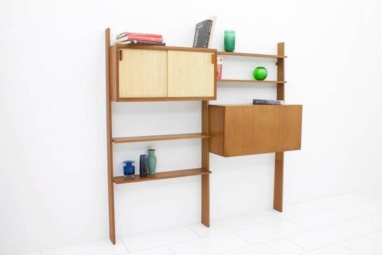 Dieter Waeckerlin Teak Shelf with Seagrass Sliding Doors a Bar or Desk, 1950s For Sale 3