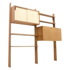 Dieter Waeckerlin Teak Shelf with Seagrass Sliding Doors a Bar or Desk, 1950s