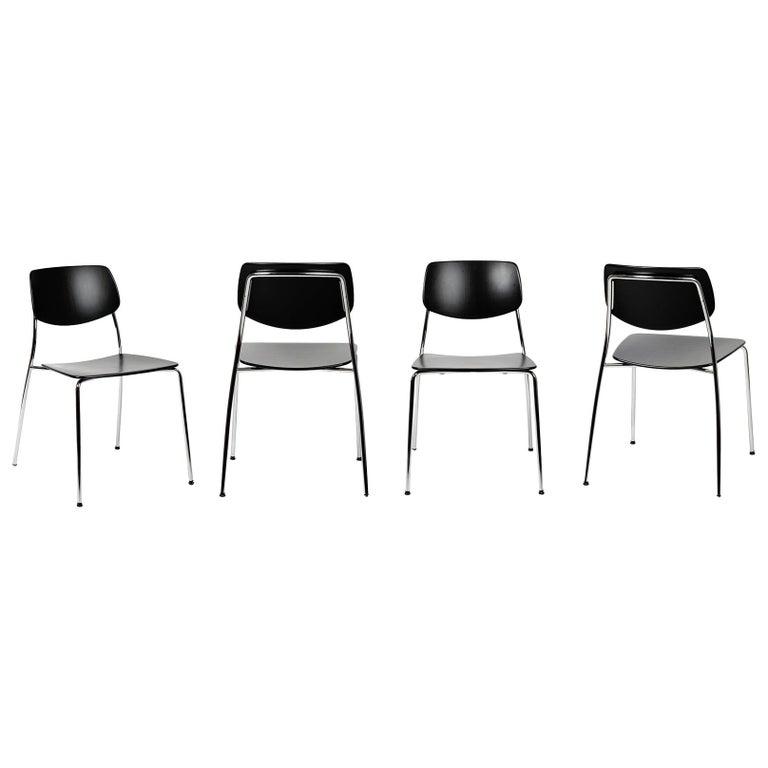 Dietiker Felber C14 Metal Dining Chair, Modular Design, Set of 4 For Sale