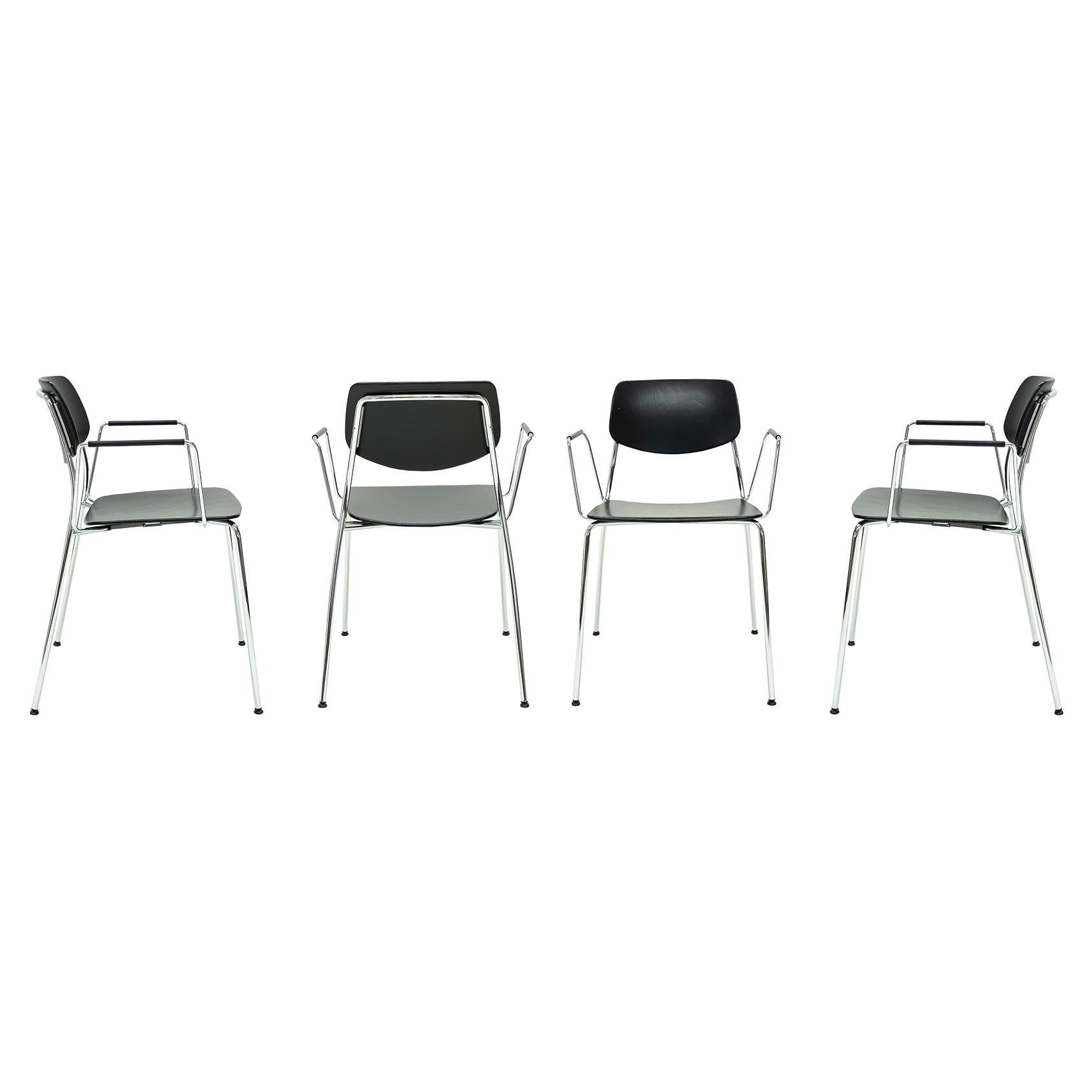 Dietiker Felber C14 Metal Dining Chair with Arms, Modular Design, Set of 4