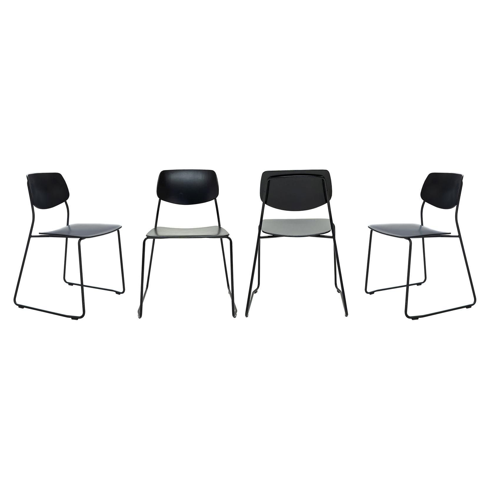 Dietiker Felber C14 Sled Dining Chair, Modular Design, Set of 4