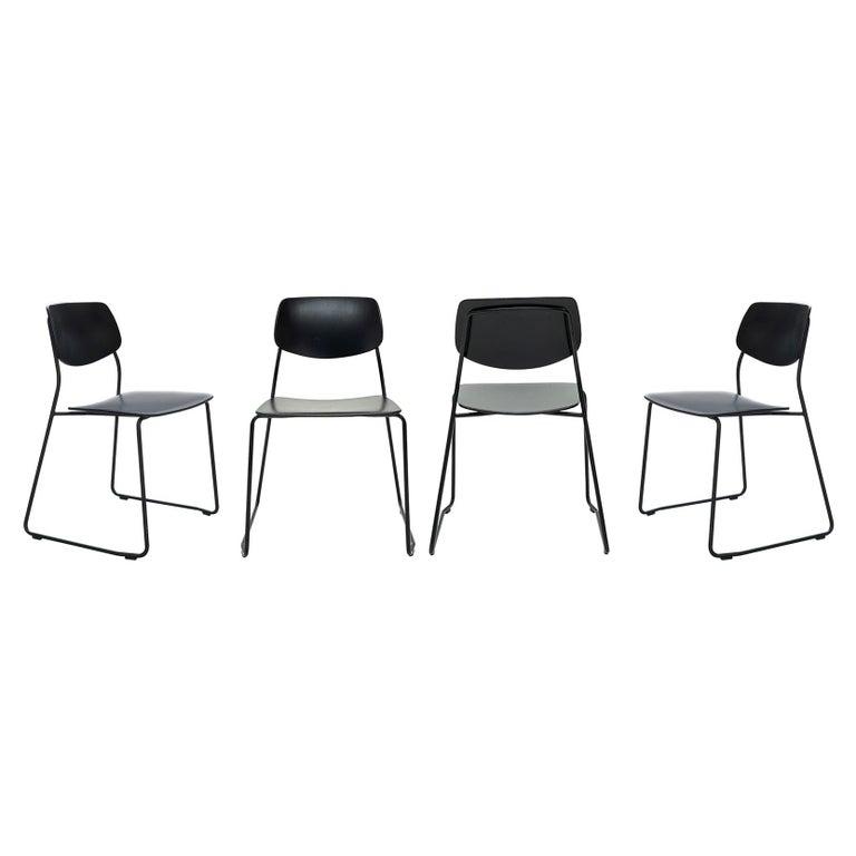 Dietiker Felber C14 Sled Dining Chair, Modular Design, Set of 4 For Sale