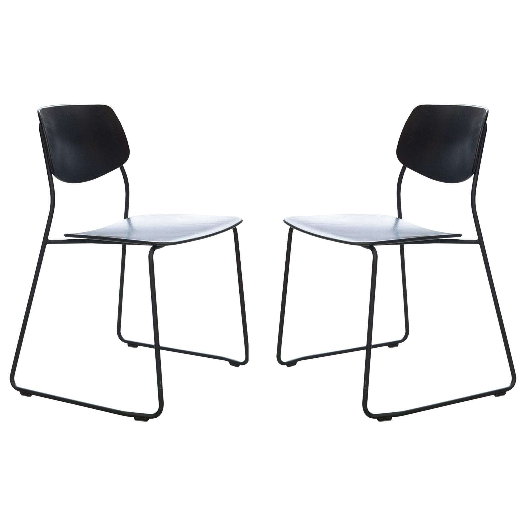 Dietiker Felber C14 Sled Modern Dining Chair, Modular Design, Set of 2