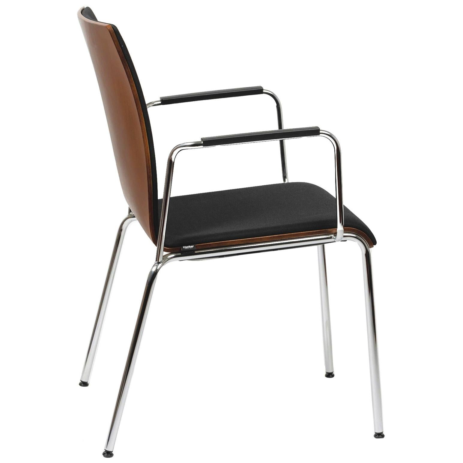 Dietiker Poro L-Swiss Chair, Beechwood, Brown with Black Upholstery, in Stock