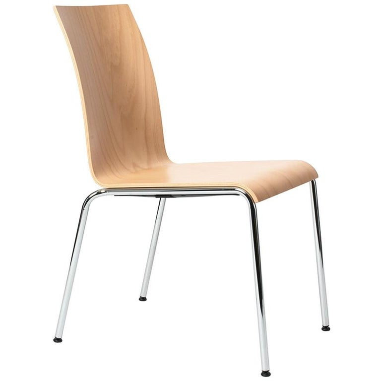 Dietiker Poro Modern Dining Chair, Beechwood, Natural Color, in Stock For Sale