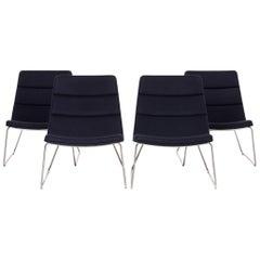 Dietiker Relounge 6400 Fabric Armchair Set Blue Dark Blue 4 Chair