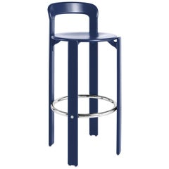 Dietiker Rey Barstool with Back by Bruno Rey, Mid-Century Modern, Blue, 1971