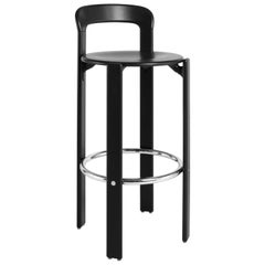 Dietiker Rey Barstool with Back, Mid-Century Modern, Designed by Bruno Rey, 1971