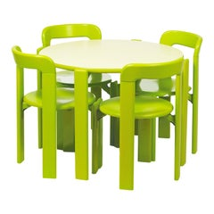Dietiker Rey Junior Set, Kids Table and Chairs in Green, Designed by Bruno Rey