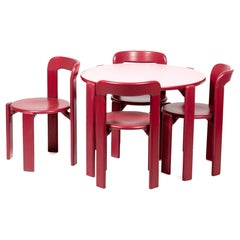 Dietiker Rey Junior Set, Kids Table and Chairs in Pink, Designed by Bruno Rey