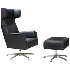 Dietiker Wing Lounge chair and Ottoman, Modern, Black, in Stock