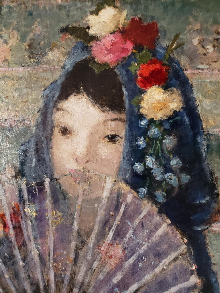 This spectacularly beautiful post-impressionist portrait t could be reminiscent of Degas.  A charming girl with a blue mantilla adorned with roses, a blue shawl and a see-through fan that enhances the sitter's mysterious beauty. It's a fairy-tail