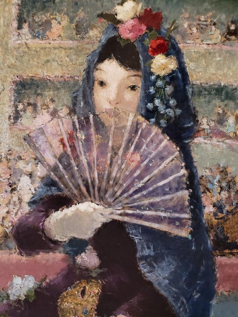 Au Bal Masque - Spanish girl at Opera - Like Degas - Painting by Dietz Edzard