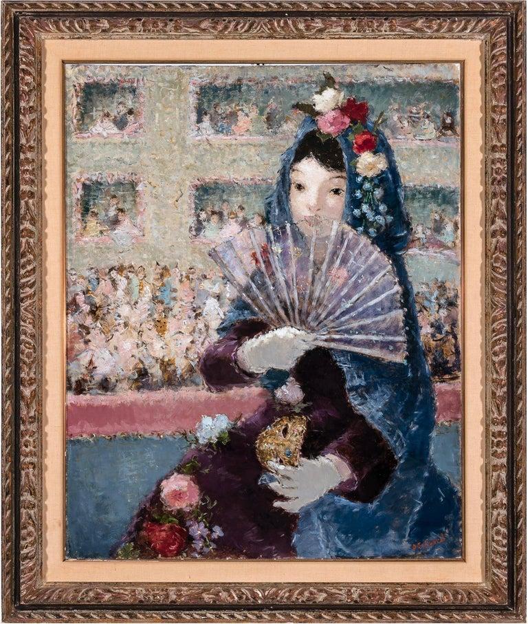 Dietz Edzard Figurative Painting - Au Bal Masque - Spanish girl at Opera - Like Degas