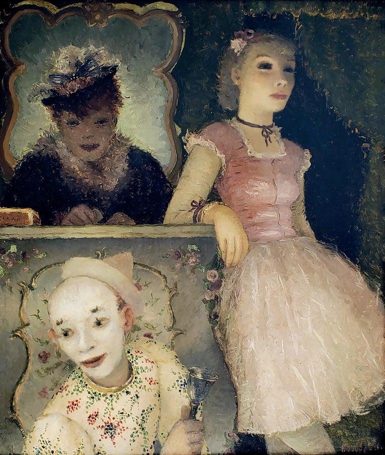 Dietz Edzard Figurative Painting - Ballerina, Clown and  Festival Performers