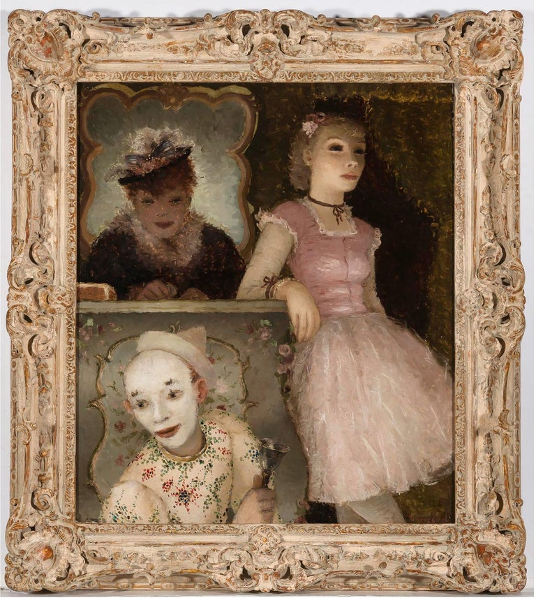 Ballerina, Clown and  Festival Performers Like Degas - Painting by Dietz Edzard