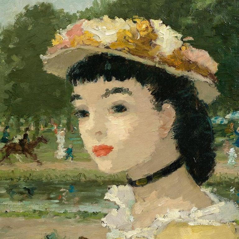 Femme sur une terrasse - Painting by Dietz Edzard