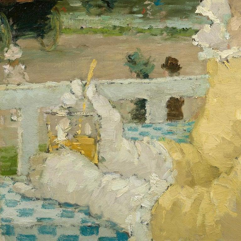 Femme sur une terrasse - Brown Portrait Painting by Dietz Edzard