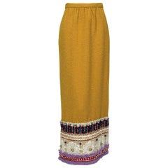Digby Morton Mustard Statement Folk Maxi Skirt with Appliqués - Med, 1960s